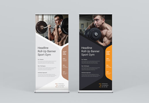 Roll-Up Banner Layout with Soft Shape Elements
