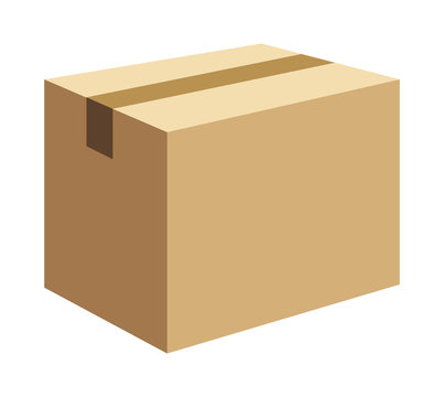 Cardboard box, packaging closed. Vector illustration isolated on white background for web, icon.