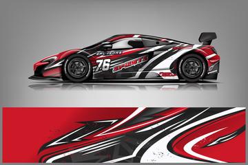 Fototapete - Sport car racing wrap design. vector design.