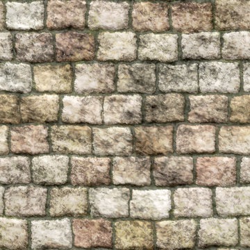 Old stone  brick wall with moss seamless background - Vector