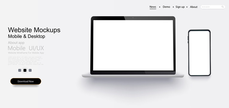 Laptop, mobile phone with blank screen. Vector collection gadgets, Mockups to showcase your web-site design