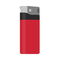 Cigarette disposable lighter red vector flat icon isolated white. Addiction accessory tool danger silhouette