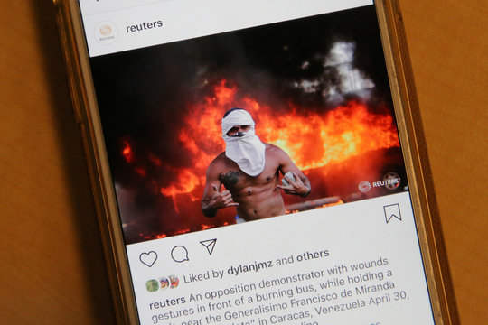 "The Instagram account of Reuters Pictures, as seen in Canada, features no more total ""likes"" listed"
