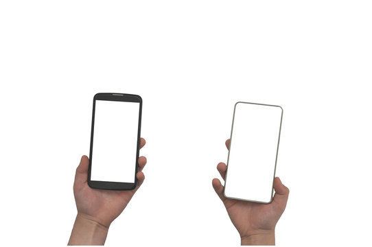 In each hand of the child one mobile phone. One smartphone is gray and another is black. on a white background. with space for inscription.