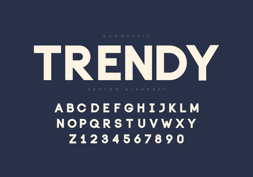 Bold modern font design. Aplhabet and numbers. Eps10 vector.