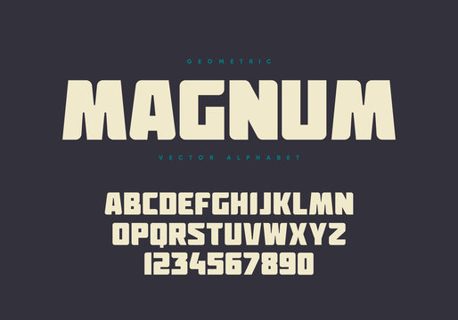Bold font design. Authentic alphabet and numbers. Eps10 vector.