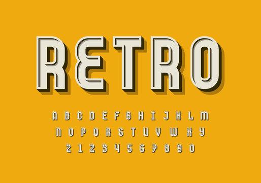 Retro 3d alphabet design. Eps10 vector.
