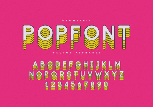 Pop font design. Alphabet and numbers. Eps10 vector.