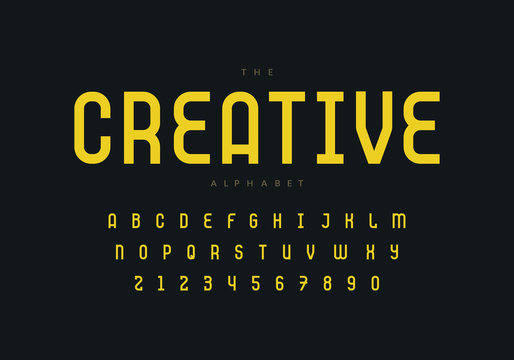 Thin retro font design. Aplhabet and numbers. Eps10 vector.