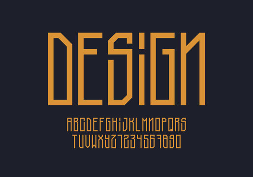 Tall geometric font design. Aplhabet and numbers. Eps10 vector.