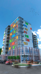 3d rendering of building appartments 1
