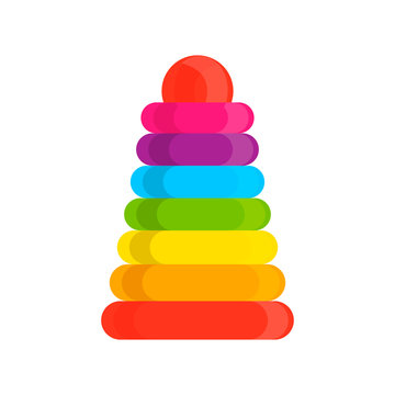 Ring stacker wooden toy rainbow pyramid vector icon. Educational visual baby assembled building tower illustration