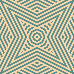Teal and tan vector geometric seamless pattern with stripes, diagonal lines