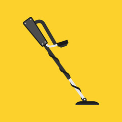 Obraz Metal detector treasure vector icon hobby. Equipment search gold discovery. Black sensor adventure hunter tool seeker device - fototapety do salonu