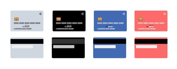 Fototapeta Bank plastic credit or debit contactless smart charge card front and back sides with EMV chip and magnetic stripe. Blank design template mockup. Vector illustration set obraz