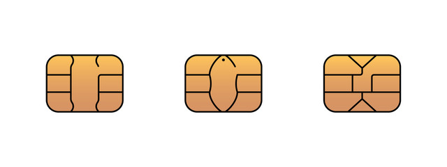 EMV gold chip icon for bank plastic credit or debit charge card. Vector symbol illustration