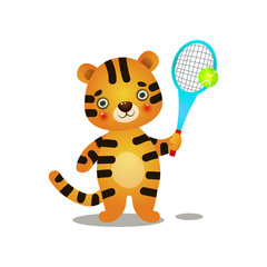 Cute kid tiger play court tennis with wood racket