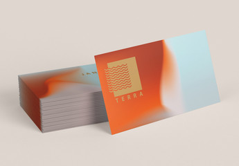 Abstract Business Card Layout with Coral and Terracotta Gradient