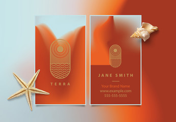 Vertical Business Card Layout with Coral and Terracotta Gradient