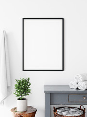 Frame & Poster mock up in bathroom.  Scandinavian interior. 3d rendering, 3d illustration