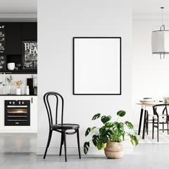 Frame & Poster mock up in living room.  Scandinavian interior. 3d rendering, 3d illustration