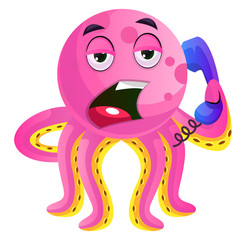 Pink octopus speaking on the phone illustration vector on white background