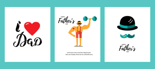 Happy Father's day greeting card set. My dad my hero. I love Dad hand drawn lettering. Vector illustration with strong man, bowler hat and mustache. Flat style.
