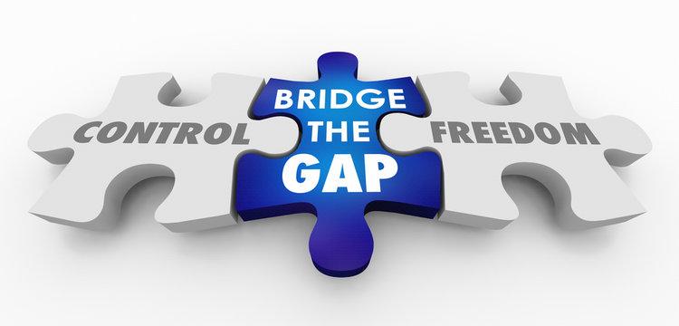 Control Vs Freedom Bridge the Gap Puzzle Pieces 3d Illustration
