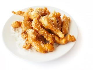 Chinese Honey Chicken Dish On White Plate