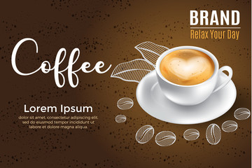 3d realistic coffee with love ads for label