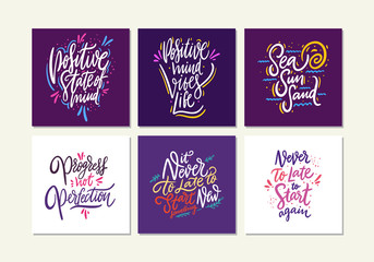Motivational quote vol 7. Hand drawn vector lettering set. Cartoon style cute typography