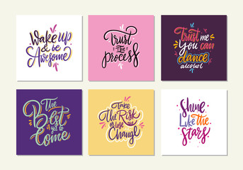 Motivational quote vol 8. Hand drawn vector lettering set.