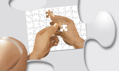A puzzle of a hand holding a puzzle pieces is completed by an identical hand holding the last piece of the puzzle. But wait, the entire image is a puzzle piece being held in an even bigger hand.