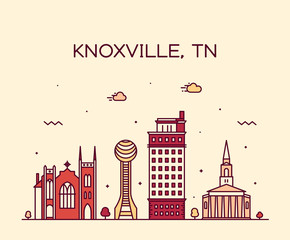 Fotomurales - Knoxville skyline Tennessee USA vector line style