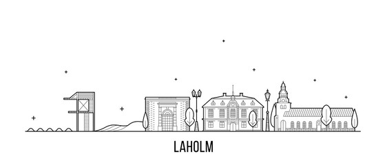 Wall Mural - Laholm skyline Halland County Sweden city vector