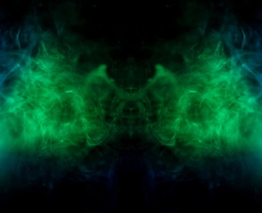 panorama green color abstract smoke texture . screening flowing and glowing background .