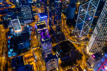 Top view of Hong Kong downtown city at night Fototapete