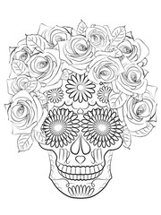 illustration of the skull, a symbol of the traditional Mexican holiday Day of the dead and the Day of angels