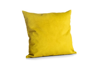 Soft yellow pillow isolated on white background