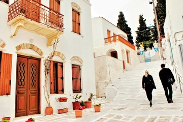 Street view at the traditional village of Pyrgos in Tinos island, Cyclades, Greece