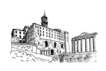 Fotomurales - vector sketch of Ancient ruins of a Roman Forum or Foro Romano, Rome, Italy.
