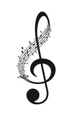 Vector isolated music treble clef with notes