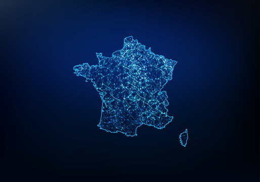 Abstract of france map network, internet and global connection concept, Wire Frame 3D mesh polygonal network line, design sphere, dot and structure. Vector illustration eps 10.
