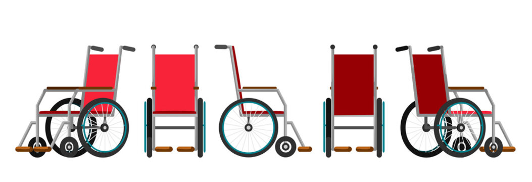 Vector illustration of wheelchair under the white background. Cartoon realistic illustration. Flat style. Front, side and back views. Isometric view.
