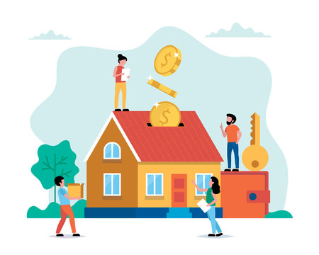 Investing money in real estate, buying house, small people doing various tasks. Concept vector illustration in flat style