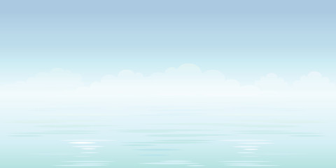 Blue sea background. Sky, clouds and ocean. Vector