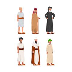 Set of Old Ancient Arabian Man Character Design Illustration