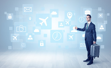 Businessman departs to a business trip with social media and travel symbol concept