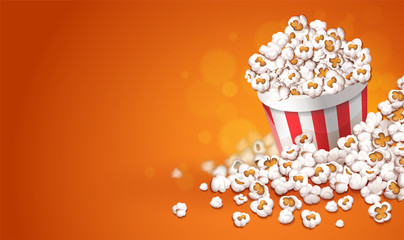 Popcorn in paper cup bucket. Online movies banner template, poster concept with copyspace, place for text. Container full of pop corn snacks in movie theater. Fast food. Vector illustration.