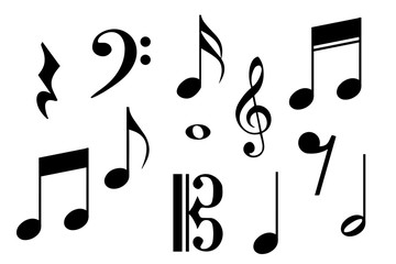 Big set of music notes. Vector illustration
